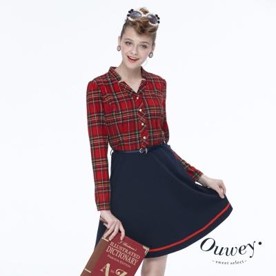 Ouwey歐薇 蘇格蘭格紋修身款洋裝(紅)