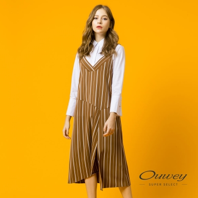 OUWEY歐薇 俏皮甜美條紋吊帶洋裝(可/綠)