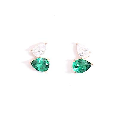 微醺禮物 正韓 鍍K金銀針 水滴 翠綠寶石搭純潔寶石 鋯石 耳針 耳環