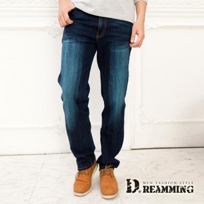 Dreamming 美型抓皺口袋伸縮中直筒牛仔褲-藍色