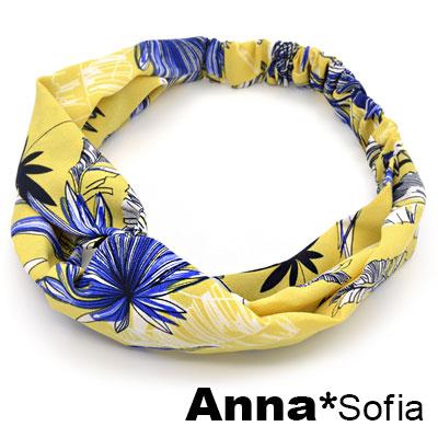 【3件480】AnnaSofia 椰樹疊影交叉結 彈性寬髮帶(黃底系)