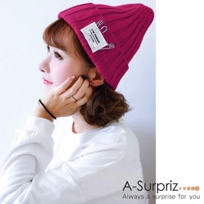 A-Surpriz 活動別針徽章反摺毛線帽(酒紅)