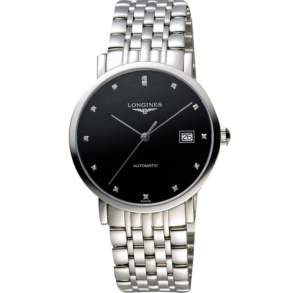 LONGINES Elegant 優雅系列真鑽機械腕錶-黑/37mm L48104576
