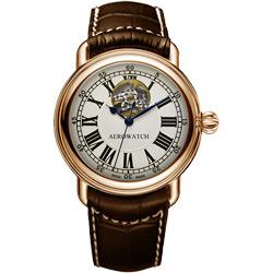 AEROWATCH 羅馬小鏤空機械腕錶-銀x玫塊金框/40mm