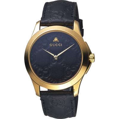 GUCCI古馳 G-TIMELESS 蜜蜂手錶-黑x金框/39mm