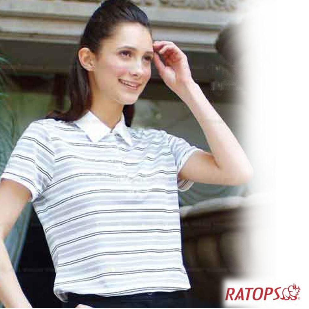 【瑞多仕】女款 COOLMAX 條紋POLO衫_DB7952 白底銀灰/黑條 V1