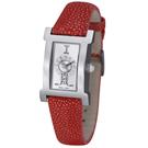 ICEBERG 珍愛自我系列珍珠魚皮錶帶-銀x紅色錶帶/14x18mm