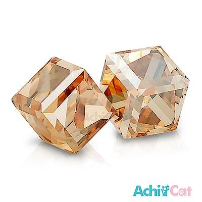 AchiCat 白鋼耳環耳針式 絢麗方塊(璀璨金)