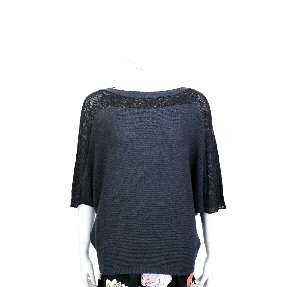 Andre Maurice 100%CASHMERE 灰藍色織花拼接飛鼠袖設計毛衣
