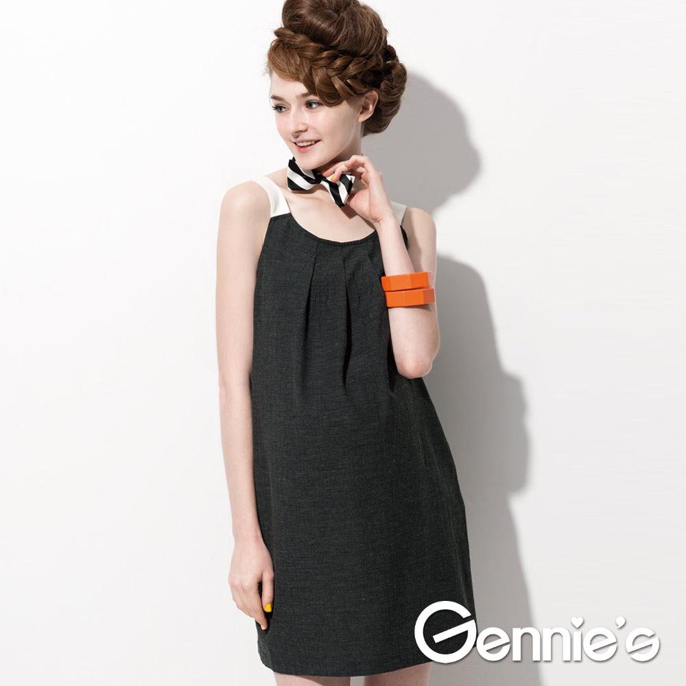 【Gennie's奇妮】  知性氣息典雅素面春夏孕婦背心洋裝  (G2511)