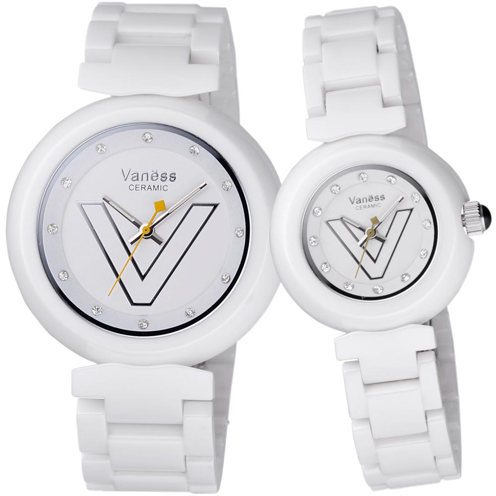 Vaness 輕甜美媛晶鑽時尚陶瓷對錶-白