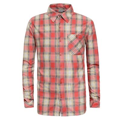 【hilltop山頂鳥】男款Active silver長袖襯衫C05M14-橘格紋