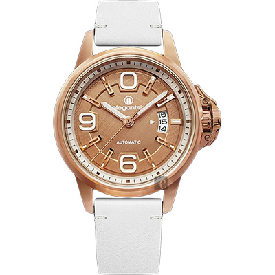 elegantsis JT55A 復古潮流機械腕錶-玫塊金x白/44mm