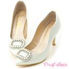D+AF 夢幻逸品.水鑽珍珠飾釦美形高跟鞋*白