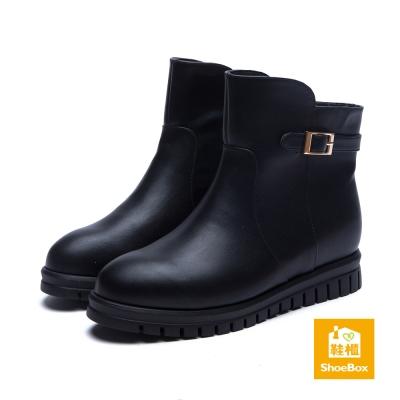 鞋櫃ShoeBox 短靴-方釦繫帶拼接工程款短靴-黑