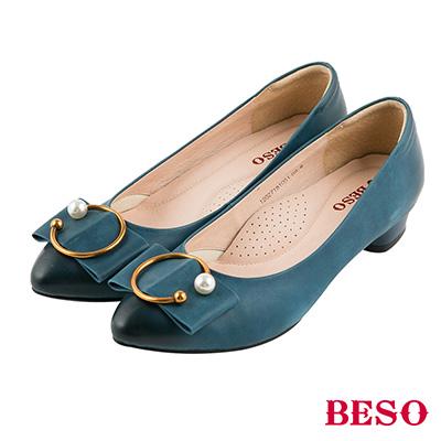 BESO 氣質典雅 全真皮C字珍珠仿舊刷色跟鞋~藍