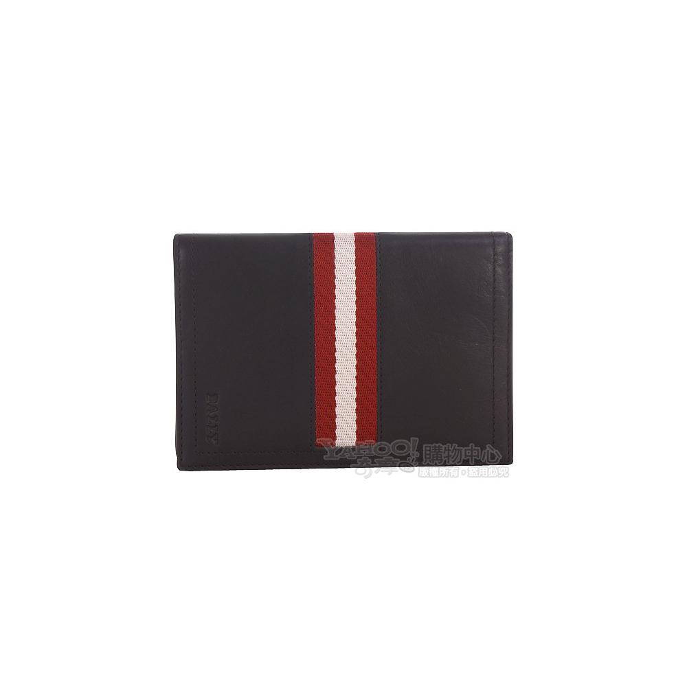 BALLY 紅白織帶對折萬用夾(咖啡色)