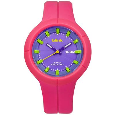 JAGA 捷卡  立體刻度指針夜光防水100M橡膠手錶-紫x粉/45mm