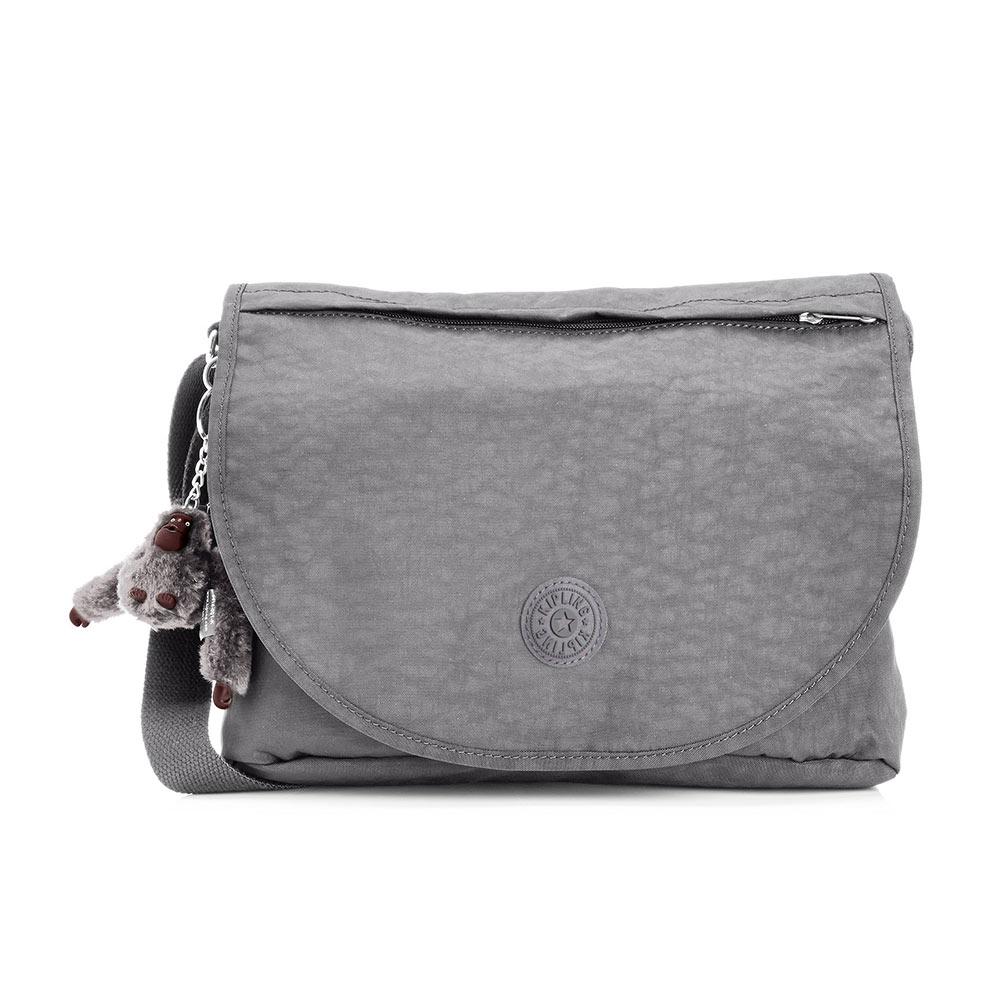 Kipling灰色素面側背包