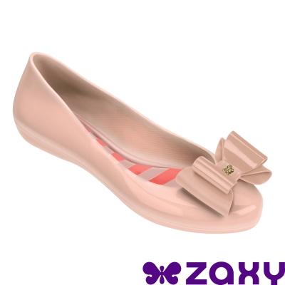 Zaxy 巴西 女 POP BOW 法式蝴蝶結娃娃鞋(淺粉)