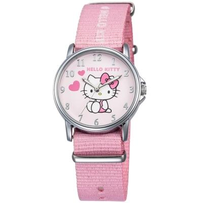 HELLO KITTY 凱蒂貓愛心滿滿帆布手錶-粉紅/33mm