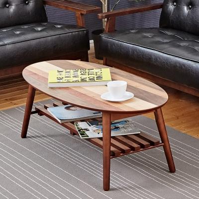 Bed Maker-拼花橢圓形 折疊收納茶几(附棚板/台灣製)100x50x38cm