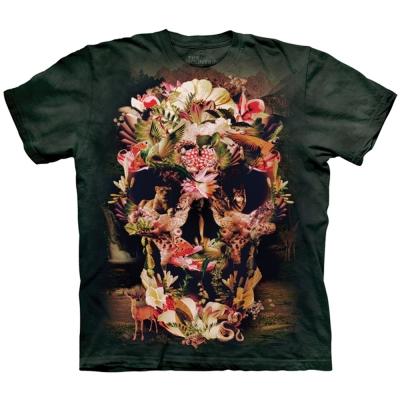 摩達客 美國進口The Mountain 叢林花骷髏 純棉環保短袖T恤