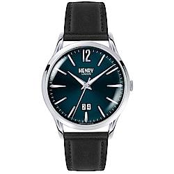 Henry London 英倫時尚真皮計時手錶-藍X黑/41mm