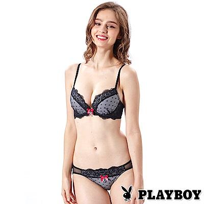 PLAYBOY成套內衣-極致魅惑4/3胸罩(黑色PL130217)
