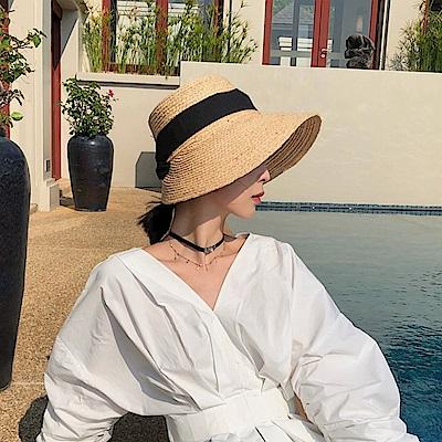 梨花HaNA 韓國米蘭法式造型黑緞帶草帽質感-速