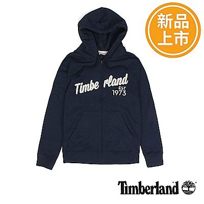 Timberland 男款藍色拉鍊連帽運動衫