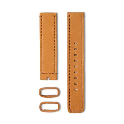 22 植揉皮革車線錶帶-焦糖色-20mm