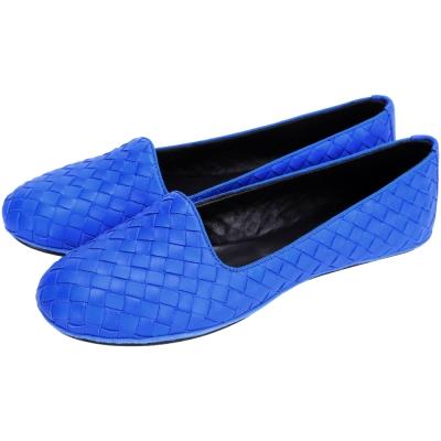 BOTTEGA VENETA INTRECCIATO 編織平底便鞋(寶藍色)