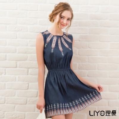 LIYO理優洋裝圖騰刺繡無袖洋裝(藍)