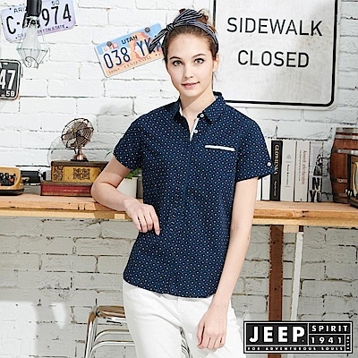 JEEP 女裝 經典圓點格紋襯衫-藍色