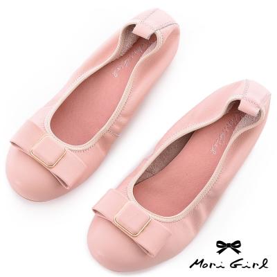 Mori girl甜美雪芙-高質感柔軟牛皮娃娃鞋 粉
