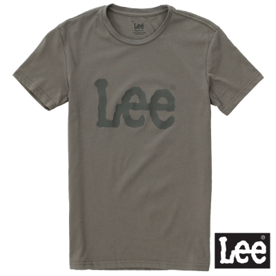 Lee 短袖T恤 深灰LOGO印刷排汗質材 -男女款(黑灰)