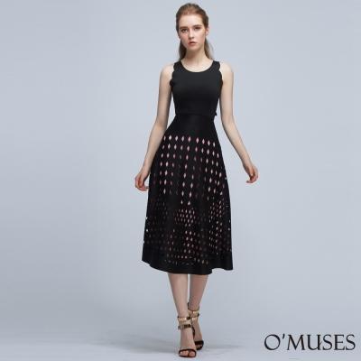 花邊袖菱格紋裙襬長洋裝-OMUSES