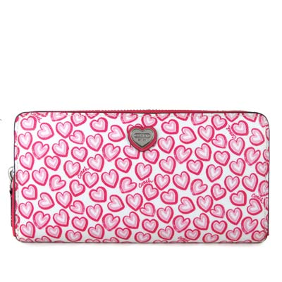 COACH-桃粉色PVC-Logo滿版愛心-型拉鍊
