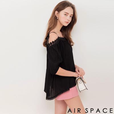 AIR SPACE 拼接蕾絲領細肩綁帶上衣(黑)