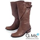 G.Ms. 流行前線-牛皮立領造型可調筒圍軍靴-搶眼咖