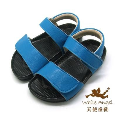 天使童鞋-F5033 簡約大象紋防水涼鞋 (小童)-藍