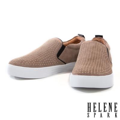 休閒鞋 HELENE SPARK 個性滿版小金鉚釘牛皮厚底休閒鞋-米