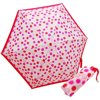 COACH米色C-Logo粉紅小碎花輕量攜帶型晴雨