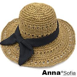 AnnaSofia 黑結花式鏤織純手工 寬簷防曬遮陽草帽漁夫帽(駝系)