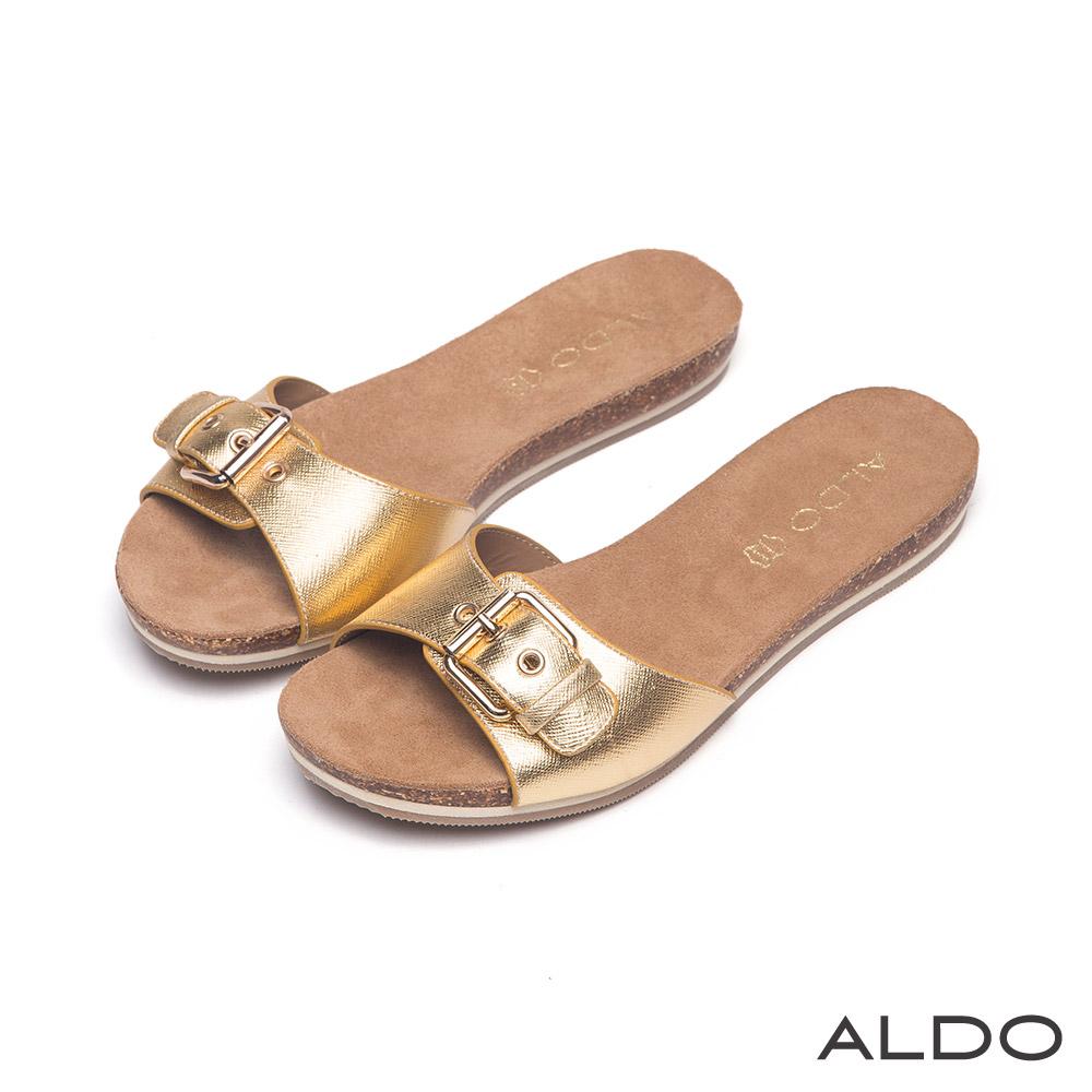 ALDO 弧形滿載圖樣金屬釦帶雙色夾心底涼鞋~時尚金屬