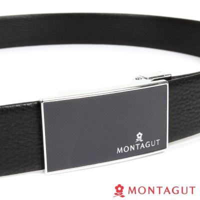 MONTAGUT夢特嬌-經典方框黑底斜紋Logo款-二層牛皮自動扣皮帶-757