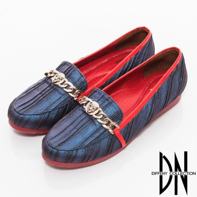 DN 時尚主張 全真皮質感虎頭裝飾包鞋 藍