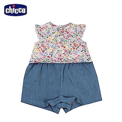 chicco-To Be Baby-小碎花牛仔連身褲(6-24個月)