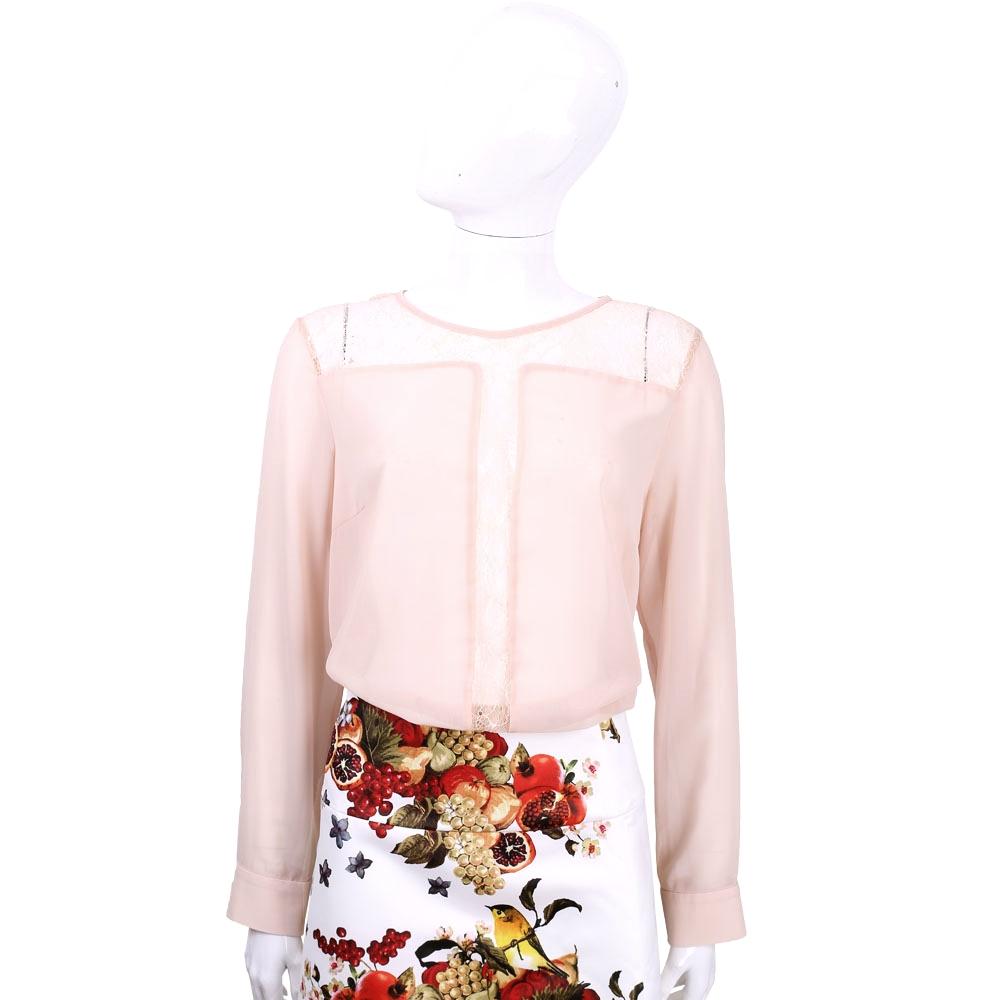 BLUGIRL 粉膚色蕾絲拼接長袖上衣